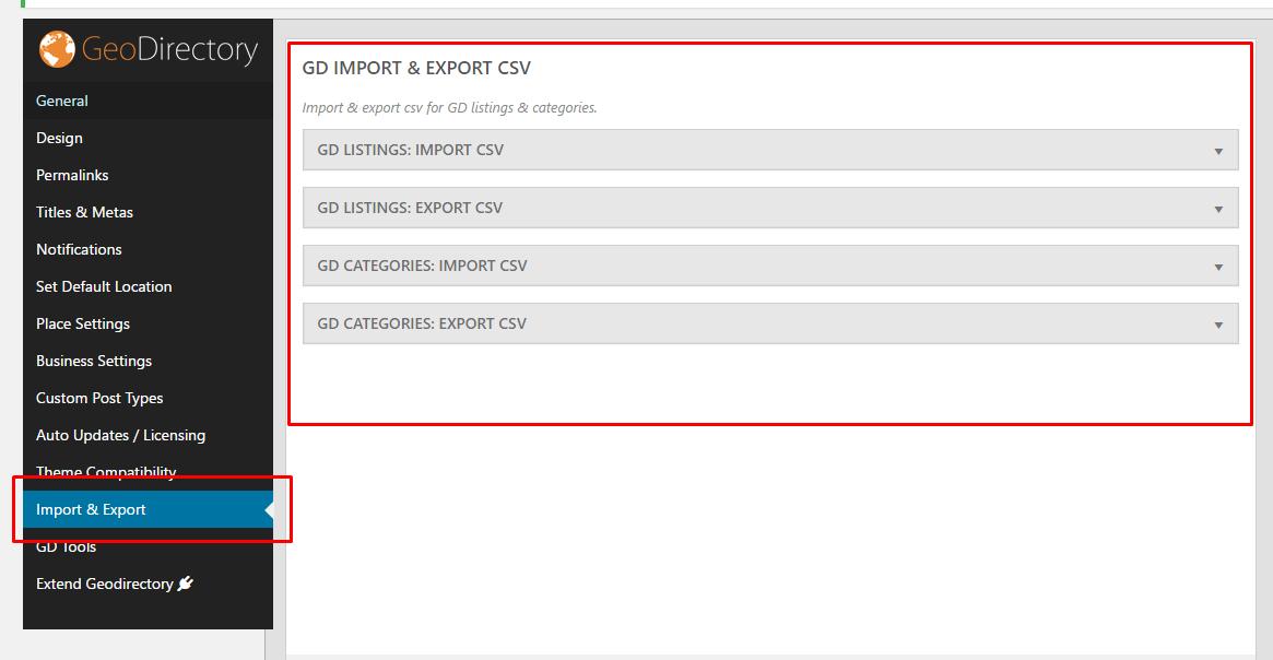 GD Core Plugin – Export & Import - GeoDirectory Documentation