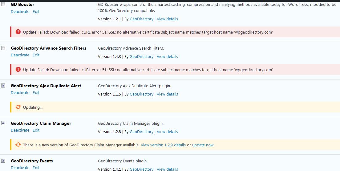 Update Failed Download Failed Curl Error 51 Ssl No Alternative