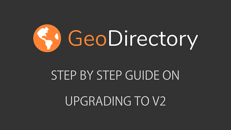 UPGRADING GUIDE GeoDirectory V2